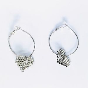 New! Rhinestones Heart Dangle Hoop Huggie Earrings